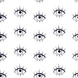 Drawnig graphique noir des globes oculaires avec des cils sur le fond blanc Affiche moderne à la mode illustration libre de droits