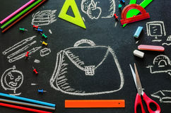 Drawning with chalk school background with pencils, scissors and Royalty Free Stock Image