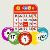Drawning style bingo balls and red card background Royalty Free Stock Photos