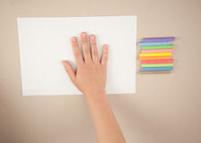 Draws with chalks Stock Images
