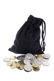 Drawstring Bag and Coins Stock Images