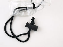 Drawstring on a Clear Bag. A black cord drawstring for a clear plastic bag isolated on a white background Stock Photo