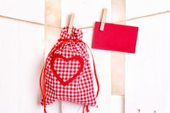 Drawstring gift bag and message card stock photo