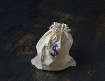 Drawstring money bag Stock Images