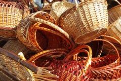 Dray full of baskets. Old dray full of handmade wood baskets Royalty Free Stock Photo