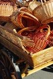 Dray full of baskets. Old dray full of handmade wood baskets Stock Photo