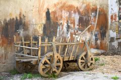 Dray.Wain.The Village cart. The cart for agricultural work.Used in the pre-automotive times vehicile.Ecologically clean.They are made of wood and the iron Royalty Free Stock Photos