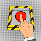 Drücken Sie den Pop-Arten-Vektor des roten Knopfes von Hand ein Stockbild