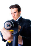 Dread businessman aiming by drill Royalty Free Stock Photo