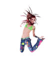Dread lock Hippie Girl Jump Royalty Free Stock Images
