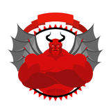 Dreaded, Scary Satan logo for a sports team or sports club. Red Stock Images