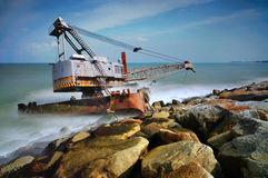 Dreadger Barge Grounded by storm Stock Image
