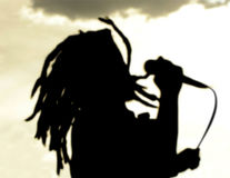 Dreadlock singer silhouette at sunset royalty free stock photography