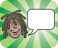 Dreadlocks face with speech bubble. Vector illustration of dreadlocks face with speech bubble. Easy-edit layered vector EPS10 file scalable to any size without Royalty Free Stock Image