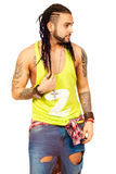 Dreadlocks braids hair. Man urban street style. On white background. Royalty Free Stock Image