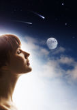 Dream. Private world of the person, female profile, digital-art stock photography