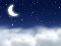 Dream. 3D Graphic of the Moon, Clouds and Stars royalty free illustration