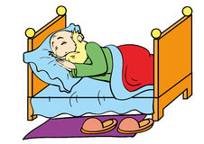 Dream. Grandfather asleep in his bed Royalty Free Stock Photo