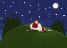 Dream. Fairytale illustration. The girl sleeps on a lamb. A dream Stock Photo