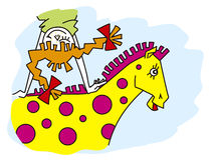 Dream. Girl is going on horseback in dream Royalty Free Stock Image