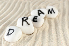 Dream. Word on group of stones Stock Images