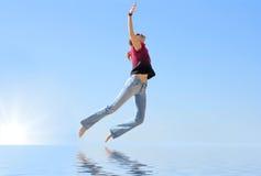 Dream. Girl flies in her dream Stock Photo