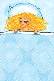 Dream. Girl, dream, sleeps, lays, blanket, has rest, hair, blonde, pillow, night, eyelashes, hands Royalty Free Stock Photography