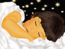 Dream. Sleeping child in beds on background starry sky Stock Photo