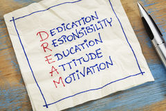 Dream acronym on a napkin Royalty Free Stock Photos