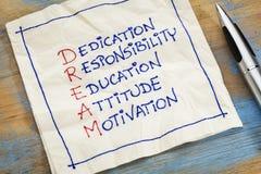 Dream acronym on a napkin. Dedication, responsibility, education, attitude, motivation - DREAM acronym - a napkin doodle royalty free stock photos