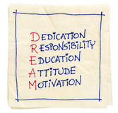 Dream acronym on a napkin Royalty Free Stock Photo