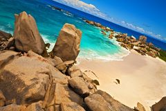 Dream beach. With a huge stones, Seychelles, LaDigue island Royalty Free Stock Image