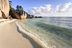 Dream Beach. On the island of La Digue, Seychelles, Indian Ocean royalty free stock image