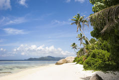 Dream Beach. Beach on the island of La Digue, Seychelles, Indian Ocean royalty free stock photography