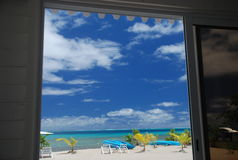 Dream beach outside the door. Raiatea, French Polynesia Royalty Free Stock Photography