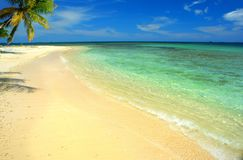 Dream beach with white sand and turquoise waters in San Blas, Panama royalty free stock image