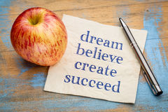 Dream, believe, create, succeed - napkin concept Royalty Free Stock Image