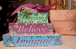 Dream Believe Imagine. A pen and stationary set encouraging dream,believe and imagine Royalty Free Stock Photos