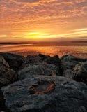 A beautiful sunset over Morecambe Bay England stock photos