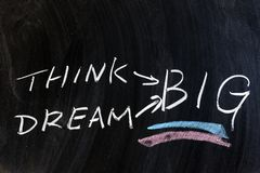 Dream big. Think and dream big words written on chalkboard Stock Photography