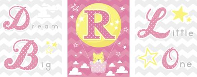 Dream big baby decor initial r Royalty Free Stock Images