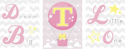 Dream big baby decor initial t Stock Images