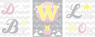 Dream big baby decor initial w Royalty Free Stock Image