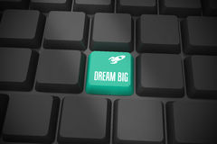 Dream big on black keyboard with green key Royalty Free Stock Images