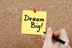 Dream Big. Hand writing dream big on cork Stock Images