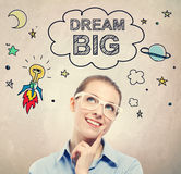 Dream Big idea sketch with young business woman. Wearing white eyeglasses Royalty Free Stock Images