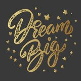 Dream big. Lettering phrase isolated on dark background. Design element for poster, card, banner. Vector illustration vector illustration