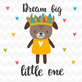 Dream big little one. Inspirational quote. Hand drawn lettering. Motivational poster. Cute puppy. Vector illustration stock illustration