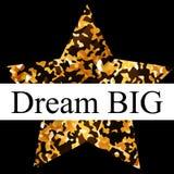 Dream big postcard with golden. Star vector illustration