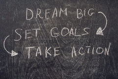 Dream Big - Set Goal - Take Action, handwriting on On a chalk board.  stock images